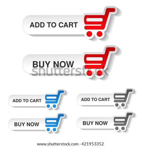 Vector simple red, blue and grey shopping cart - trolley on white buttons. Rounded labels. Item add to cart and buy now for web page.