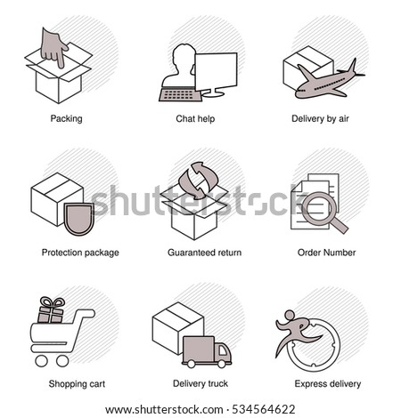 Vector simple set of delivery symbols. Line business icons. Packing, Chat help, Delivery by air, Protection package, Guaranteed return, Order number, Shopping cart, Delivery truck, Express delivery