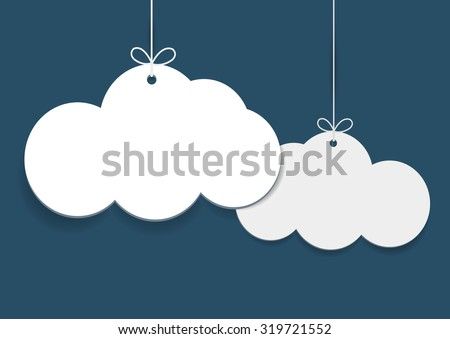 Vector simple shopping tags in shape of clouds on blue background