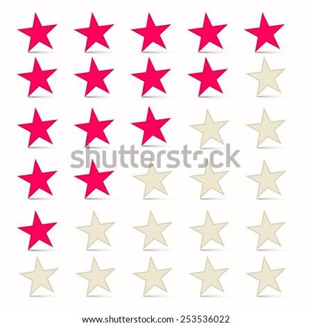 Vector Simple Stars Set - Rating Symbols - stock vector