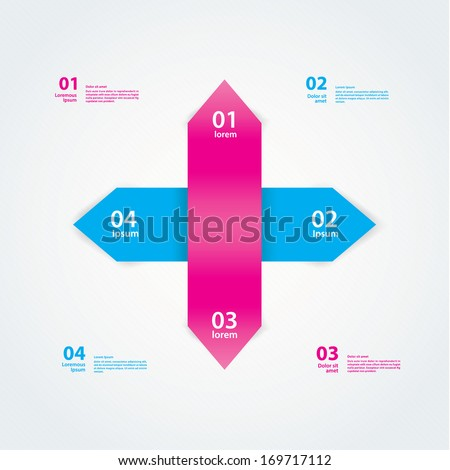 Vector simple template. Two double-arrows in fresh colors. Template ...