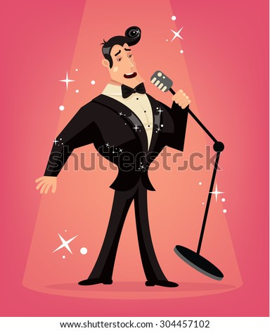 Vector singer flat cartoon illustration - stock vector