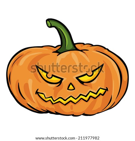 Vector Single Cartoon Halloween Pumpkin - stock vector