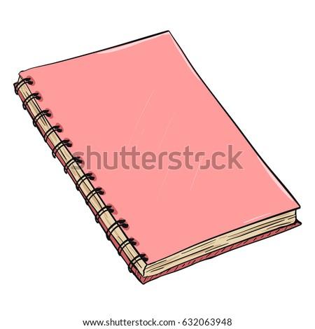 Vector Single Cartoon Pink Spiral Notebook Stock Vector ...