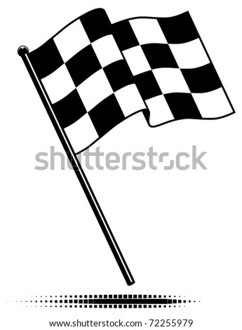 Vector single checkered flag.  Waving flag above the pole. Black and white design (gradient free).  Optional ground shadow. - stock vector