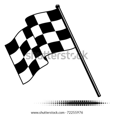 Vector single checkered flag.  Waving flag below the pole. Black and white design (gradient free).  Optional ground shadow.