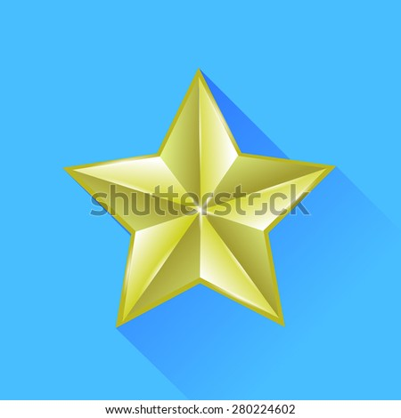 Vector Single Gold Star Isolated on Blue Background - stock vector