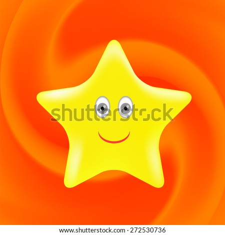 Vector Single Gold Star on Orange Wave Background.