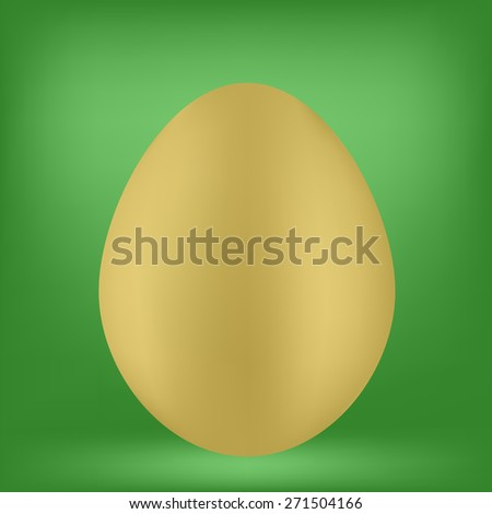 Vector Single Organic Egg Isolated on Green Background. - stock vector
