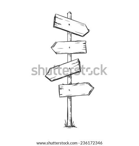 Vector Single Sketch Signpost - stock vector