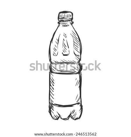 Vector Single Sketch Small Plastic Bottle of Water - stock vector