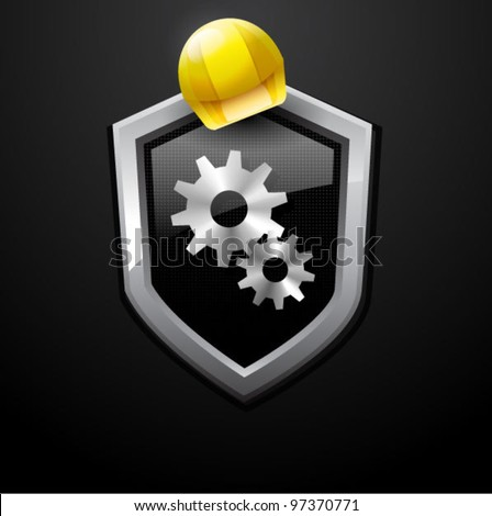 Vector site under construction with hard hat - stock vector