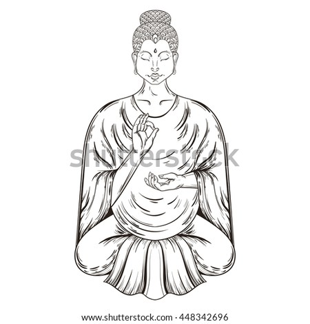 Vector Sitting Buddha in Lotus pose, teaching Buddhism, tattoo art, religion t-shirt print. Monochrome vintage hand drawn illustration.  Spiritual, yoga motifs, symbol of Tibet, Asia. - stock vector