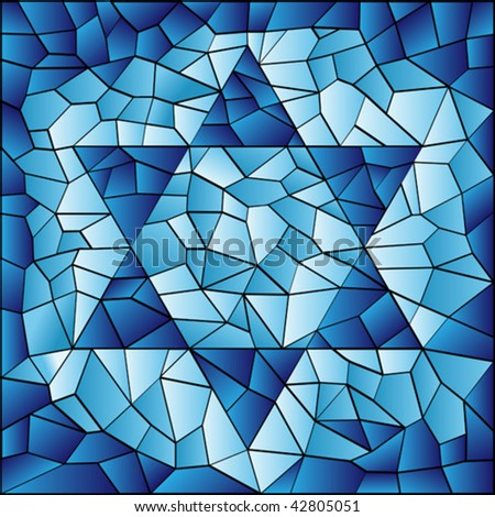 vector six pointed star in blue stained glass mosaic - stock vector