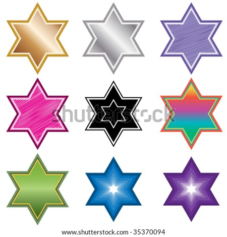 Vector six pointed star of david in different styles. - stock vector