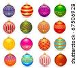 Vector sixteen christmas balls set: shadows in separate layer - stock vector