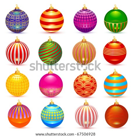Vector sixteen christmas balls set: shadows in separate layer - stock vector