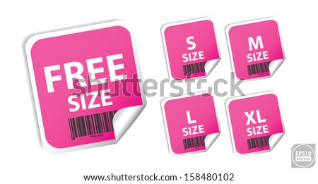 Vector: Size clothing pink labels. Eps10. - stock vector