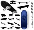 vector skateboard silhouette set - stock photo