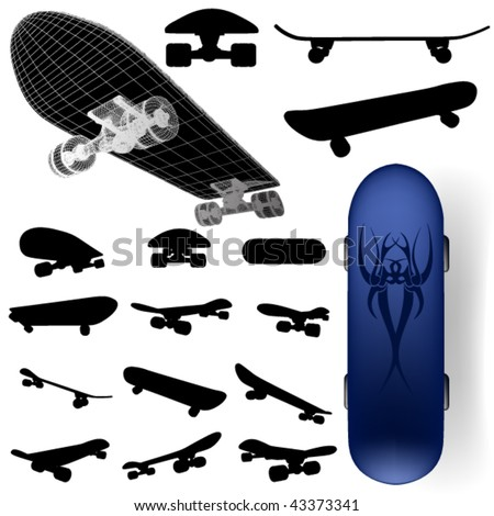 vector skateboard silhouette set - stock vector