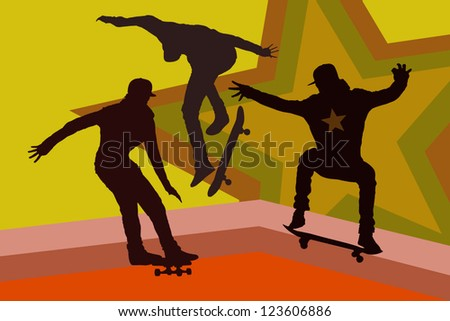 vector skateboarding silhouette - stock vector