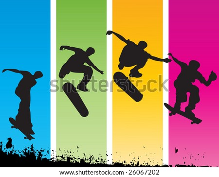 Vector skater on color-full background - stock vector
