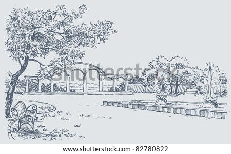 Vector sketch. A landscape of autumn  park with a bench under a tree opposite to a fountain - stock vector