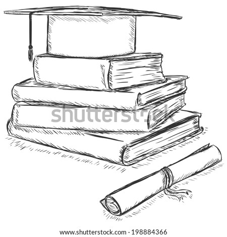 Vector Sketch Academic Hat on Stack of Books and Diploma - stock vector