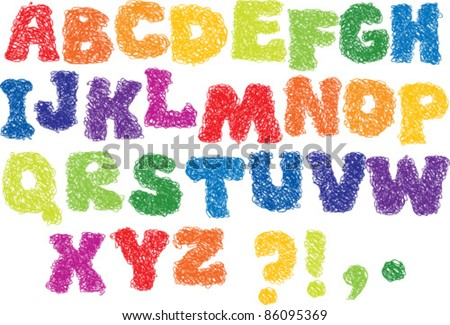 Vector Sketch Alphabet - different colors letters are made like a scribble