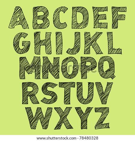 Vector Sketch Alphabet on green background - stock vector