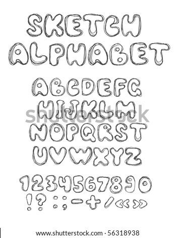 vector sketch alphabet (vector eps10) - stock vector