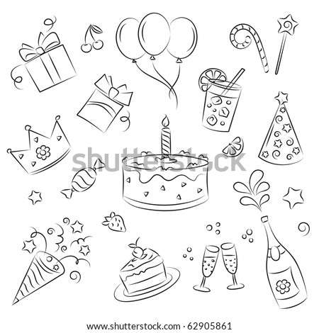 "Vector Sketch Clipart Set "" Birthday Party"" - stock vector"