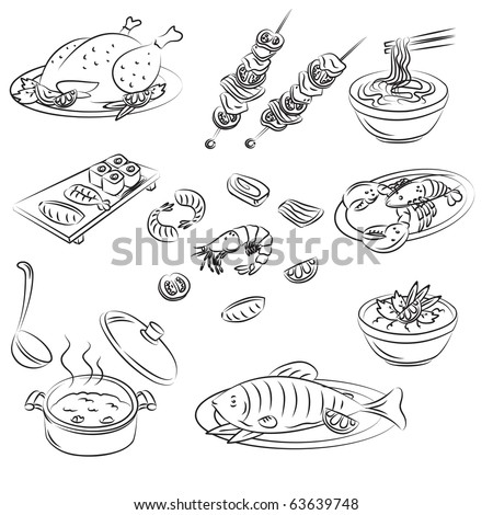 Vector Sketch Collection of meat food - stock vector
