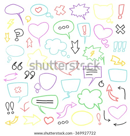 Vector sketch colorful felt-tip pen speech bubbles collection set isolated on white background.
