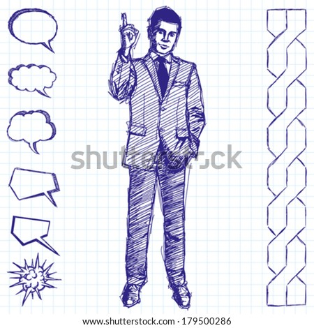 Vector sketch, comics style male businessman in suit, looking on camera - stock vector
