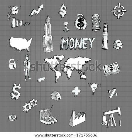 Vector Sketch drawing of business and finance icons for infographics - stock vector