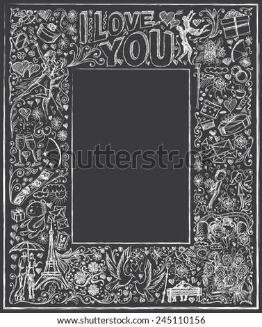 Vector sketch frame background with love story elements, dancing couple, flowers, rings, cinema and dates - stock vector
