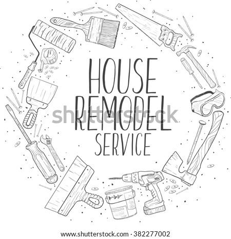 Vector sketch house remodel tools. Home repair service. House repair company logo. Flat style toola for building, remodel and repair, house remodel icon, home repair icon, diy tools - stock vector