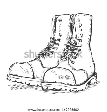 vector sketch illustration - army boots - stock vector