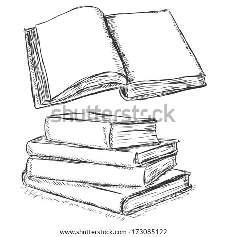 vector sketch illustration -  blank open book and stack of books - stock vector