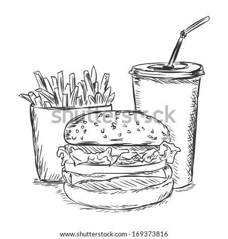vector sketch illustration - fast food: french fries, soda, burger