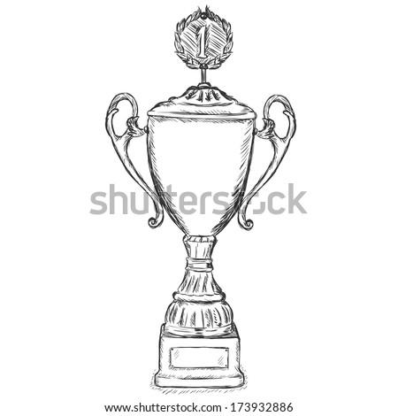 vector sketch illustration - gold premium cup - stock vector