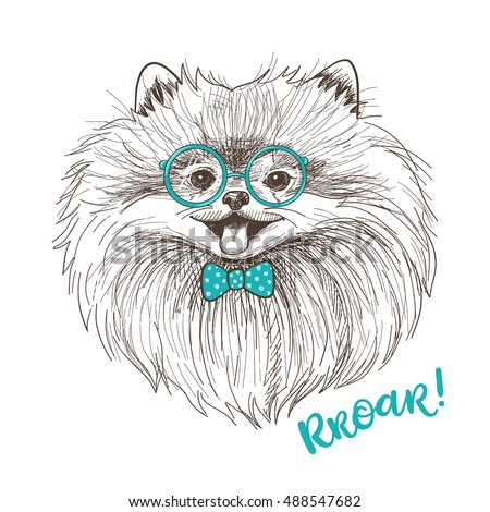 vector sketch illustration of a cute little pomeranian with bow and round glasses fashionable dog