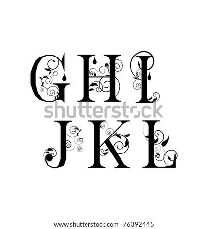 Vector Sketch  letters - stock vector