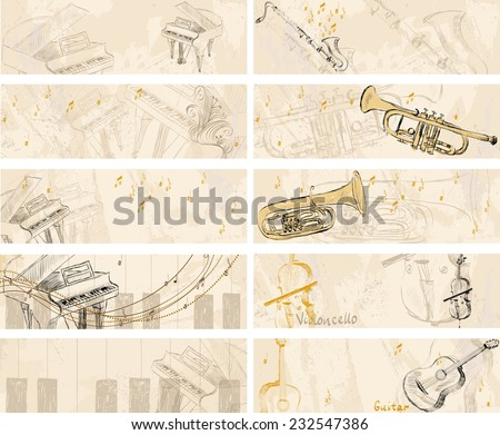 Vector Sketch musical instruments on a light background. Banners - stock vector