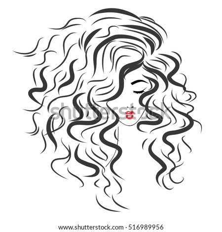Vector sketch of a beautiful girl with long curly hair. Fashion illustration. Woman's Hair Style