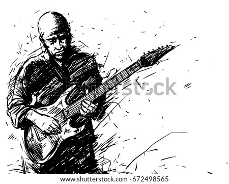 Vector Sketch Of A Man With An Electric Guitar Music Poster Background Black And White