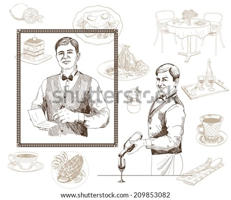 vector sketch of a waiter who takes the order - stock vector