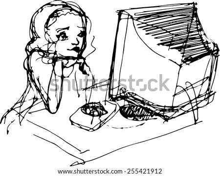 vector sketch of a young girl in front of a monitor with a mouse - stock vector