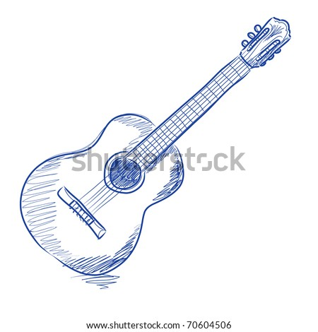 Vector sketch of an acoustic guitar in blue ink - stock vector